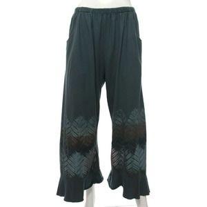 Blue Fish Women's 1 Blue Gray Leaf Wide Leg Pants